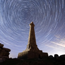 Star trail over Basset Monument on Carn Brea