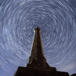 Star trail around Basset Monument on Carn Brea