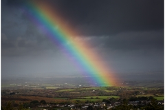 Distant views and ever changing weather provide some interesting scenes up Carn Marth.  I'm not sure I have ever seen such a vibrant rainbow before.