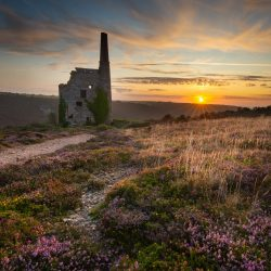 Sunset at Porthtowan tin mine, Cornwall