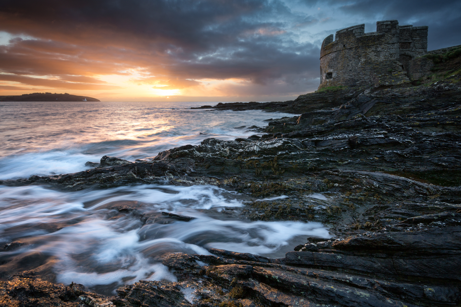 One of the first shots of the year.  A dramatic sunrise at Pendennis Point in Falmouth.