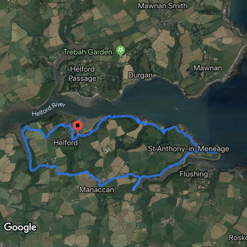 Google map of route walked